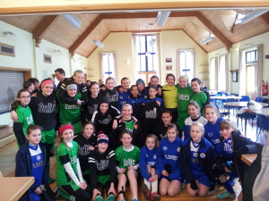 Leicester City Ladies and Grange Celtic squads after the game